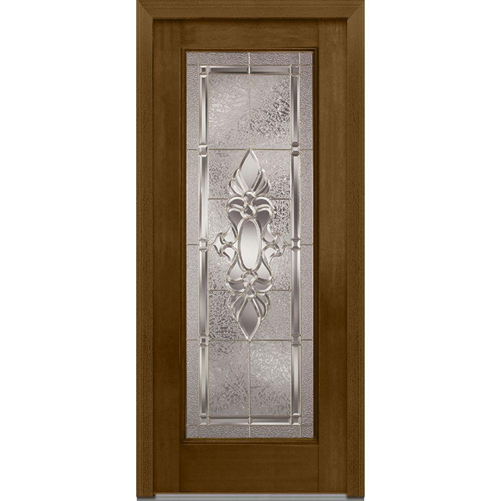 Mmi door 36 in x 80 in heirloom master left hand glass full lite decorative stained fiberglass for 36 x 80 fiberglass exterior door