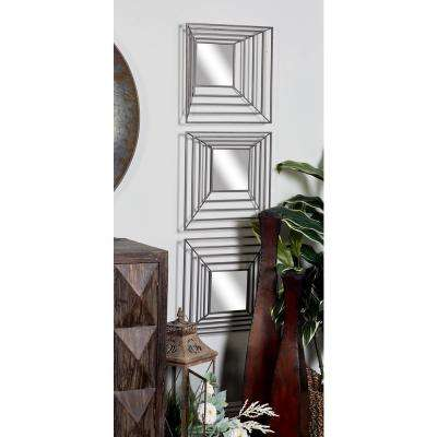 Square Polished Silver 3D Wall Mirrors (Set of 4)
