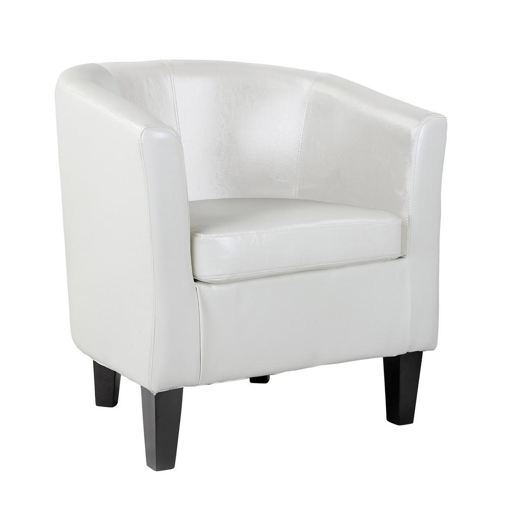 Antonio White Bonded Leather Tub Chair