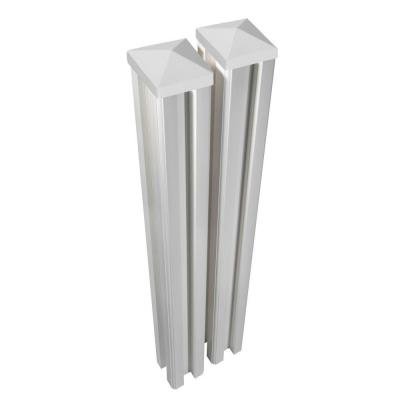 6 ft. x 4.5 in. x 4.5 in. Premium Vinyl Fence Posts with Caps (2-Pack)
