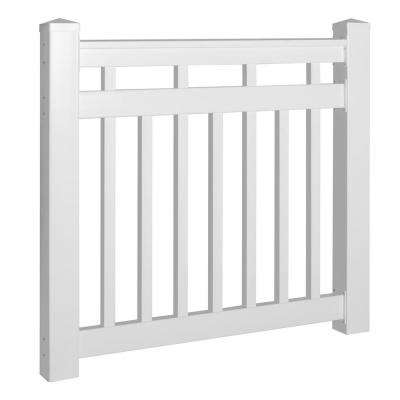 Hallandale 42 in. x 60 in. Vinyl White Gate Rail Kit
