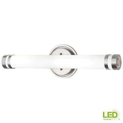 100-Watt Equivalent Brushed Nickel Integrated LED Vanity Light with Tube Etched Glass and Accented End Caps