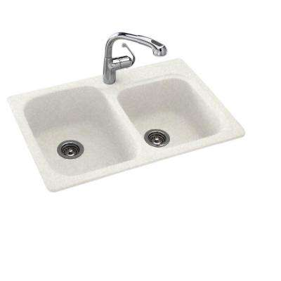 Drop-In/Undermount Solid Surface 33 in  1-Hole 55/45 Double Bowl Kitchen  Sink in Tahiti White