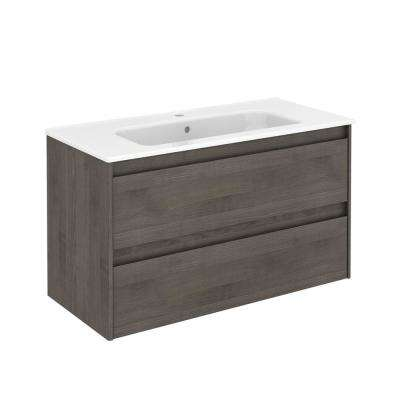 39.8 in. W x 18.1 in. D x 22.3 in. H Bathroom Vanity Unit in Samara Ash with Vanity Top and Basin in White