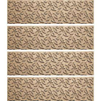 Khaki 8.5 in. x 30 in. Dogwood Leaf Stair Tread Cover (Set of 4)