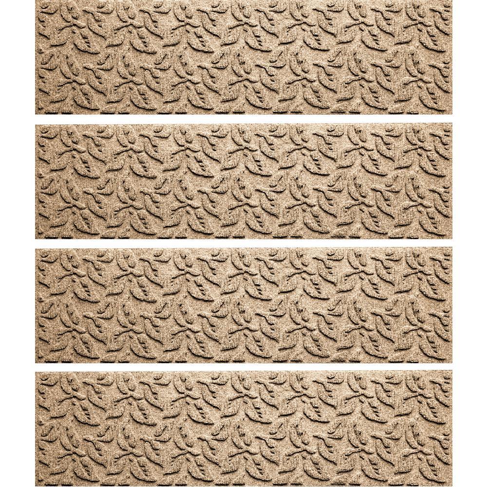 Khaki 8.5 in. x 30 in. Dogwood Leaf Stair Tread Cover (Set of 4)