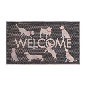 A1HC First Impression Dogs Welcome Black/Copper 18 in. x 30 in. Rubber Beautifully Copper Finished Door Mat