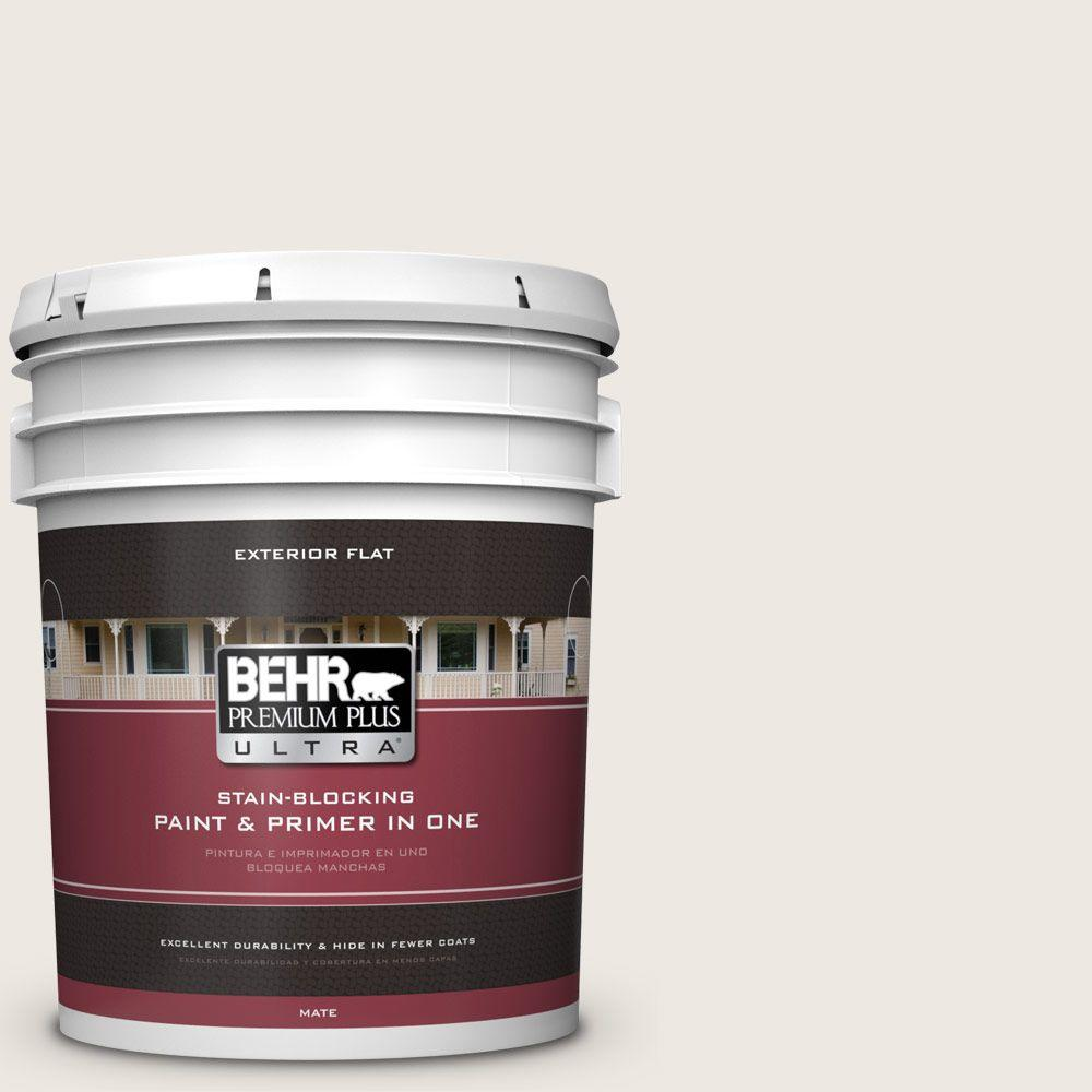 BEHR Premium Plus Ultra 5-gal. #720C-1 White Truffle Flat Exterior Paint
