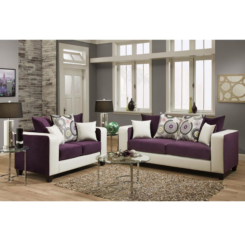 Flash Furniture Riverstone Implosion 2-Piece Purple Velvet Living ...
