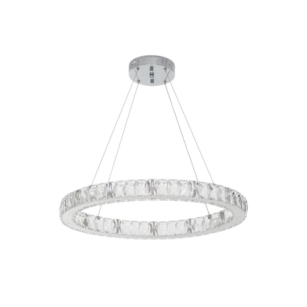 Home Decorators Collection 24 in. Chrome Integrated LED Pendant with Clear Crystals