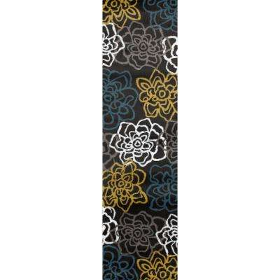 Contemporary Floral 2 ft. x 7 ft. 2 in. Yellow Gray Area Rug