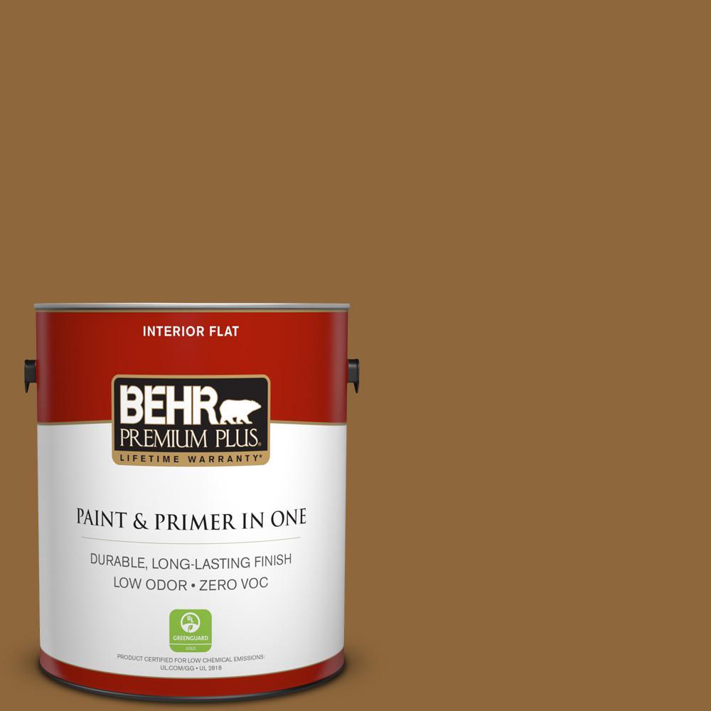 BEHR Premium Plus 1-gal. #300D-7 Spanish Leather Zero VOC Flat Interior Paint