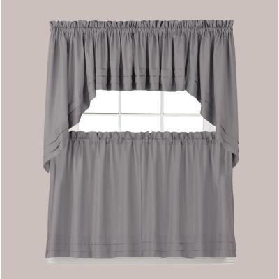 Holden 24 in. L Polyester Tier Curtain in Dove Gray (2-Pack)