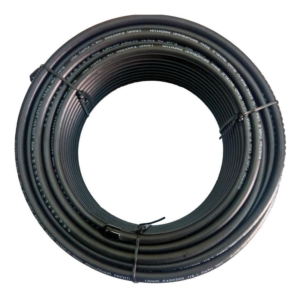 100 ft. RG6 Quad Shield Black CM Coaxial Cable