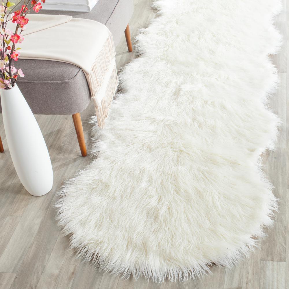 Faux Sheep Skin Ivory 3 ft. x 8 ft. Runner Rug