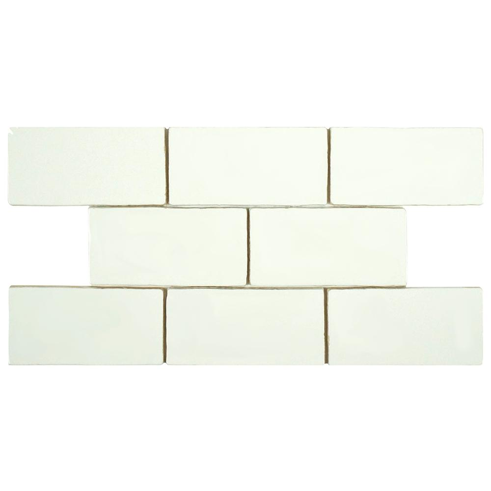 Merola Tile Chester Bianco 3 in. x 6 in. Ceramic Wall Tile (1 sq. ft. / pack)