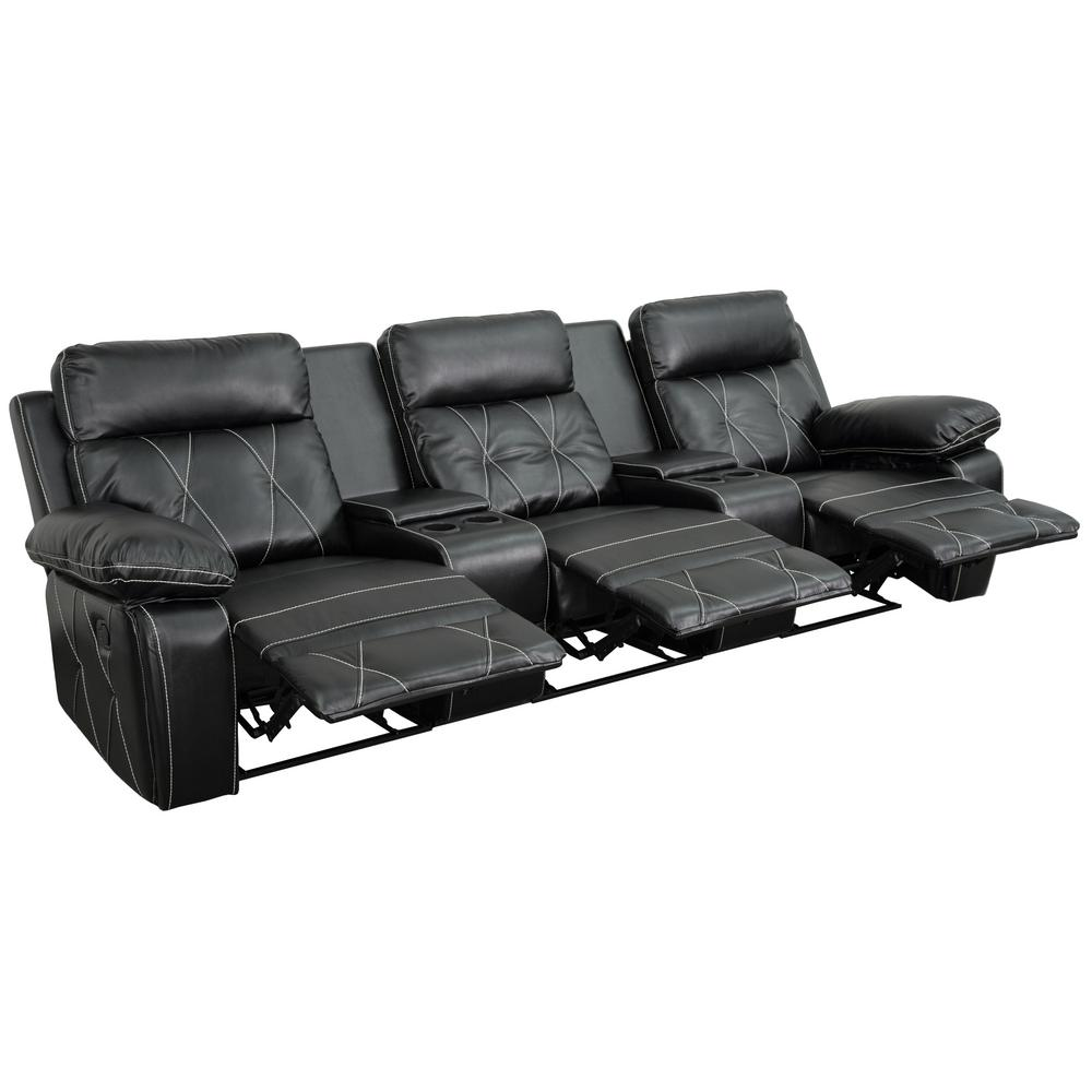 Flash Furniture Reel Comfort Series 3 Seat Reclining Black Leather Theater  Seating Unit With Straight