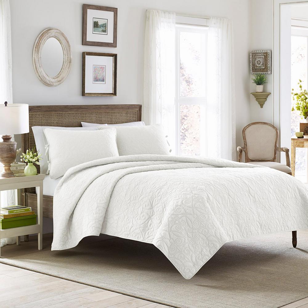 Laura Ashley Felicity 2-Piece White Twin Quilt Set 213792