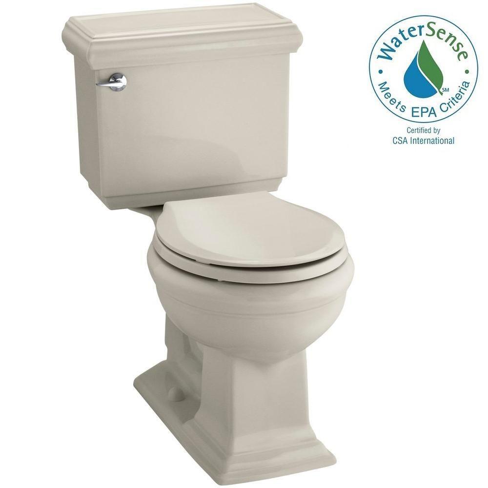 KOHLER Memoirs Classic 2-piece 1.28 GPF Round Toilet with AquaPiston Flushing Technology in Sandbar