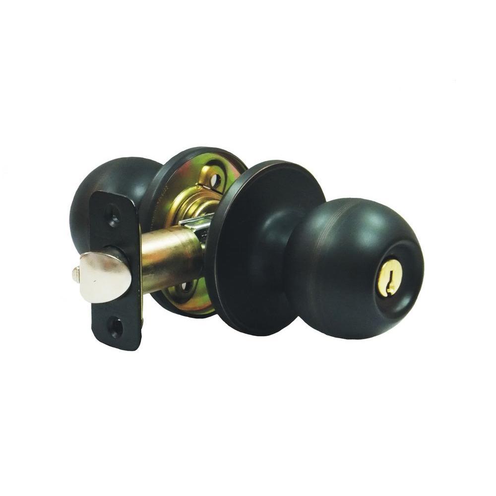 3/8 in. x 2-3/4 in. Aged Bronze Ball Storeroom Knob