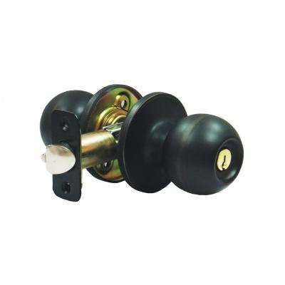 3/8 in. x 2-3/4 in. Aged Bronze Ball Storeroom Door Knob