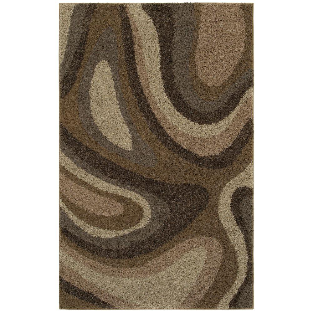 Mohawk Home Ink Swirl Camel 8 ft. x 10 ft. Area Rug