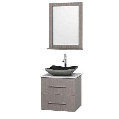 Centra 24 in. Vanity in Gray Oak with Solid-Surface Vanity Top in White, Black Granite Sink and 24 in. Mirror