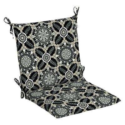 Black Tile Outdoor Dining Chair Cushion