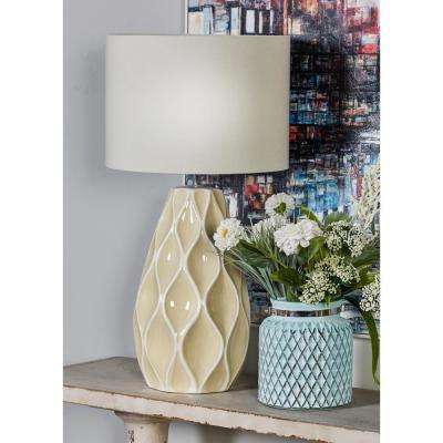 27 in. White Bud Vase-Shaped Table Lamp with Carved Diamond Details