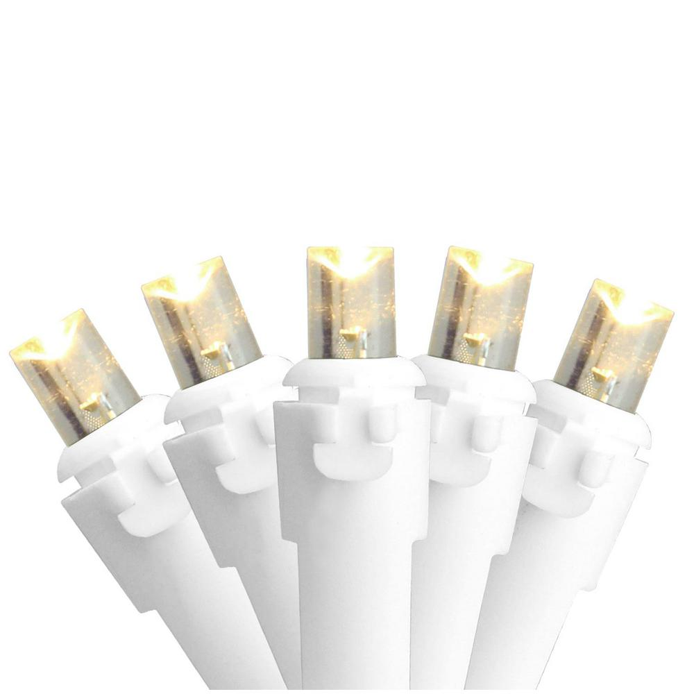 Northlight Set Of 100 Warm White Led Wide Angle Christmas Lights White Wire