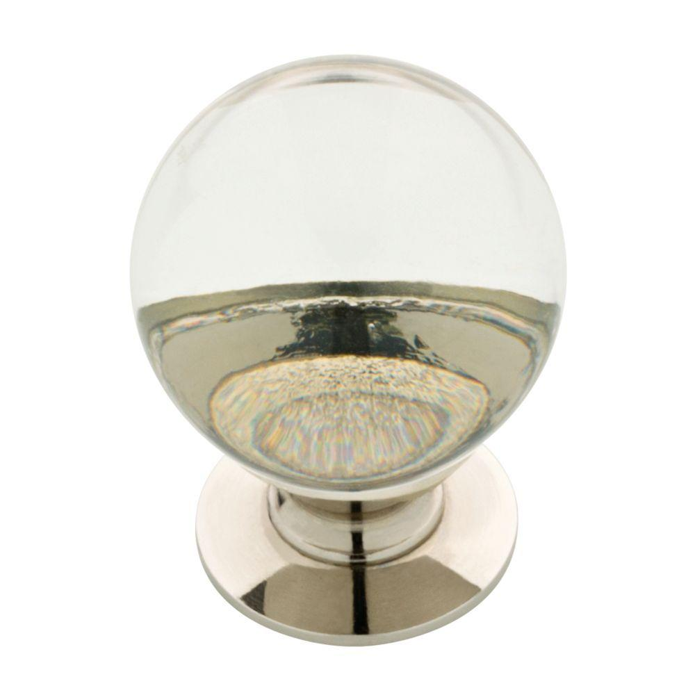 Polished Nickel And Clear Glass Ball Cabinet Knob