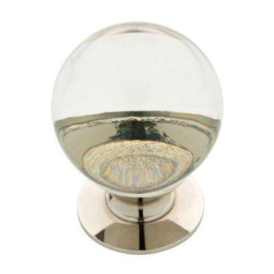 1-1/4 in. (32mm) Polished Nickel and Clear Glass Ball Cabinet Knob