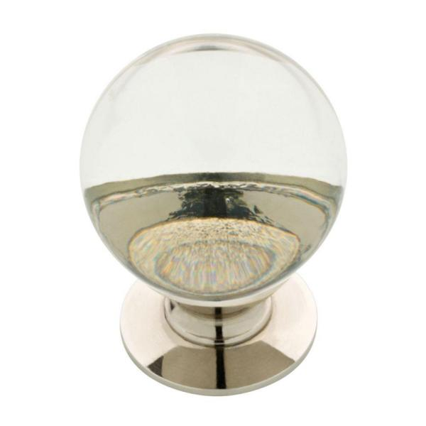 1-1/4 in. (32 mm) Polished Nickel and Clear Glass Ball Cabinet Knob