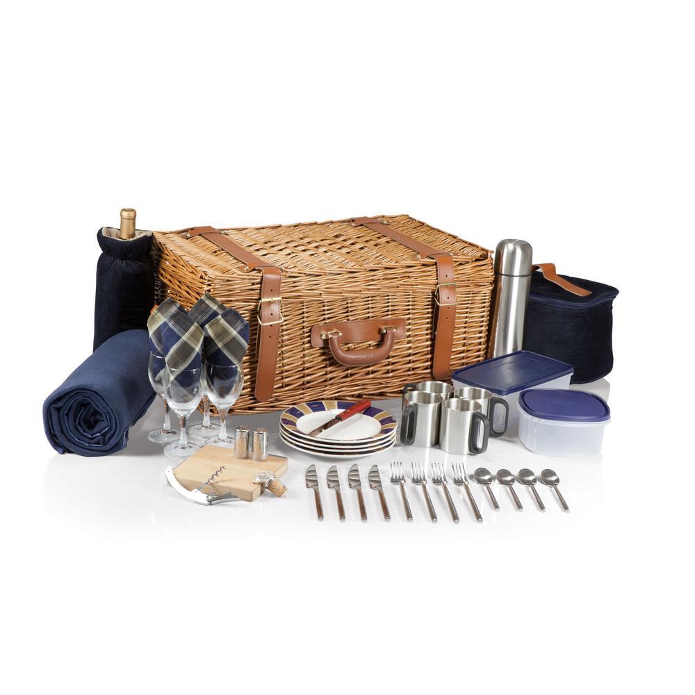 Windsor Navy with Plaid Wood Picnic Basket