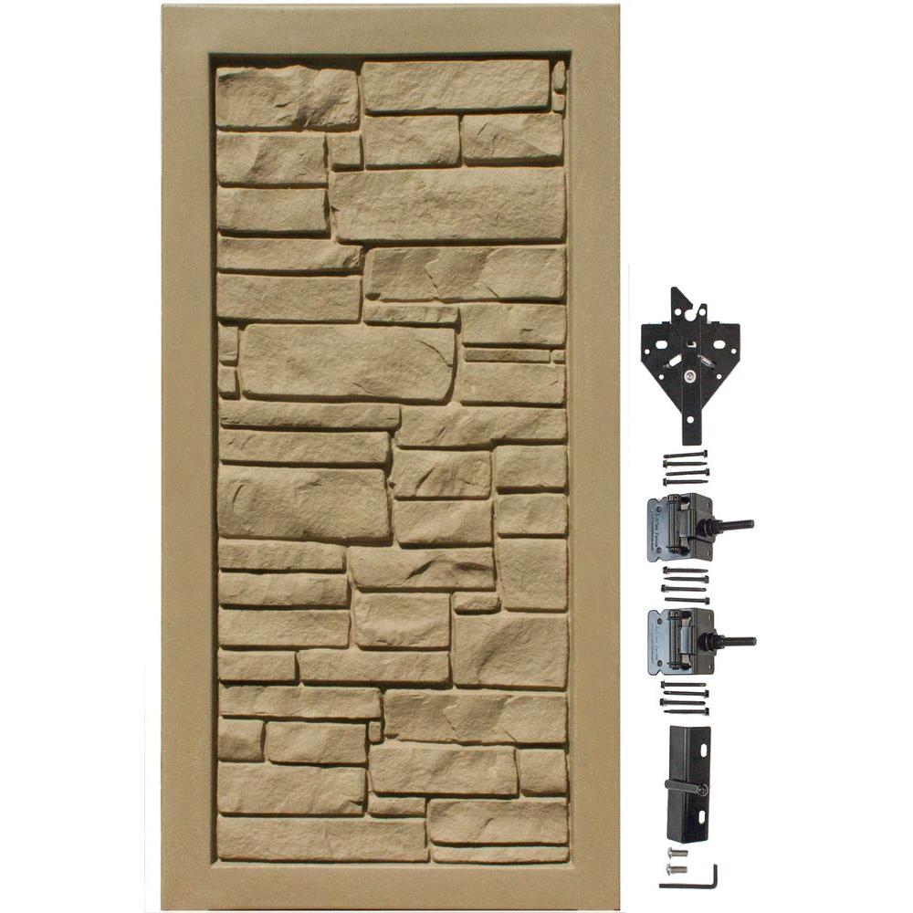 EcoStone 3 ft. W x 6 ft. H Brown Composite Privacy