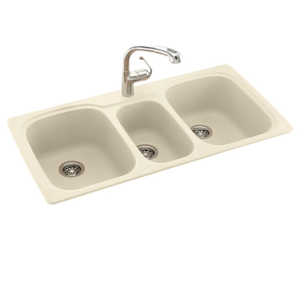 Drop-In/Undermount Solid Surface 44 in. 1-Hole 40/20/40 Triple Bowl Kitchen Sink