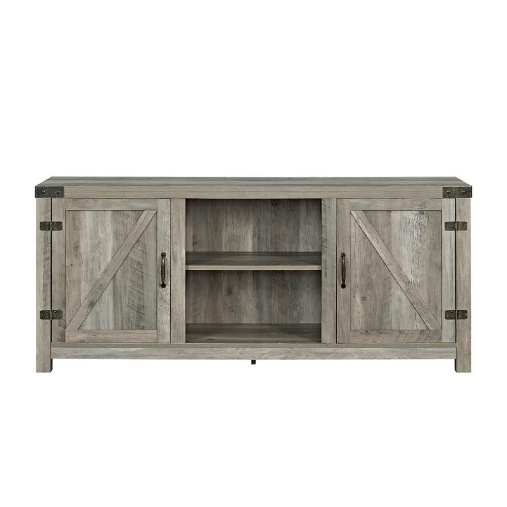 58 in. Barn Door TV Stand with Side Doors - Grey Wash