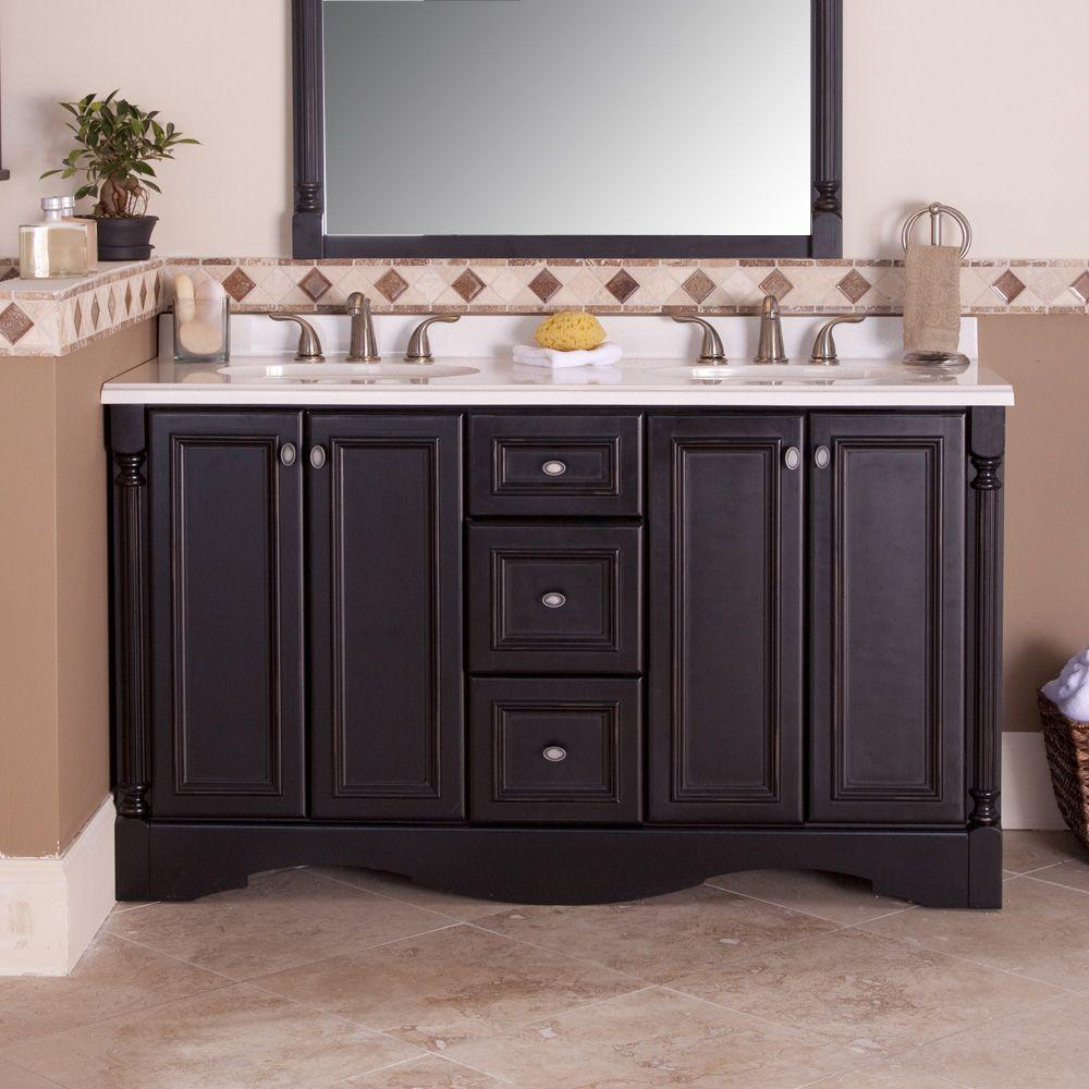 Vanity Cabinet Only in Antique Black - St. Paul Valencia 60 In. Vanity Cabinet Only In Antique Black