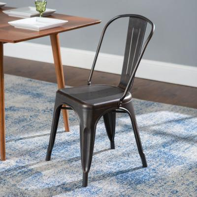 Stackable Metal Cafe Bistro Dining Chair - Antique Black