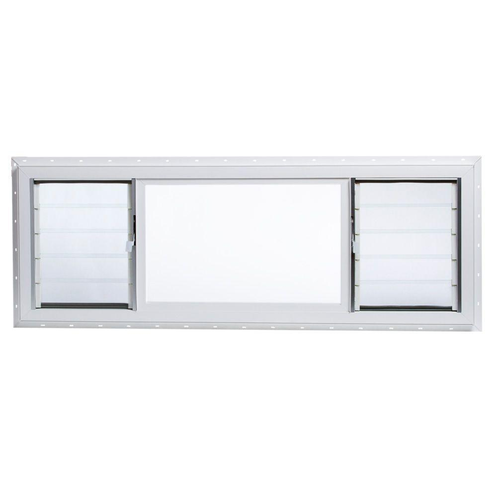 TAFCO WINDOWS 63 in. x 22.5 in. Jalousie/Picture Awning Vinyl Window in White