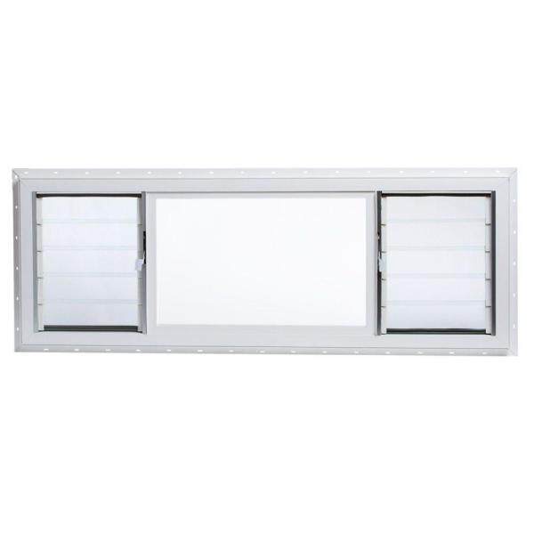 63 in. x 21.5 in. Jalousie/Picture Awning Vinyl Window in White