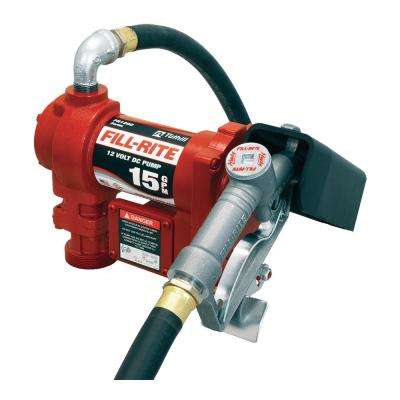 15 GPM 12-Volt Fuel Transfer Pump with Discharge Hose Manual Nozzle and Suction Pipe
