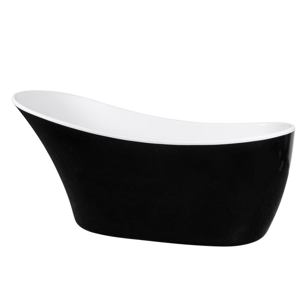 AKDY 59 in. Acrylic Single Slipper Flatbottom Non-Whirlpool Bathtub in Glossy Black was $1049.0 now $649.99 (38.0% off)