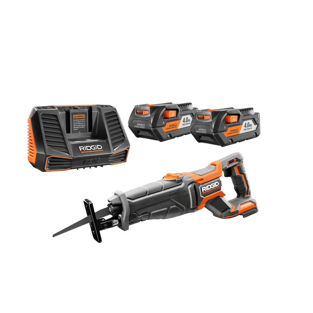 RIDGID 18-Volt Cordless Lithium-Ion Brushless Reciprocating Saw Kit with (2) 4.0Ah Batteries and Charger