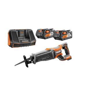 Ridgid 18-Volt Cordless Lithium-Ion Brushless Reciprocating Saw Kit with (2) 4.0Ah Batteries and Charger by RIDGID
