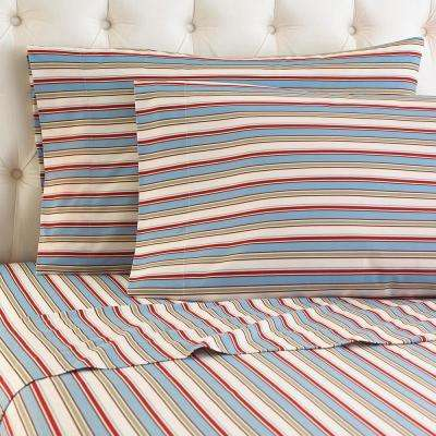4-Piece Awning Stripe California King Polyester Sheet Set
