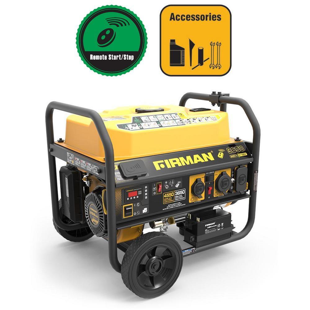 4550/3650-Watt 120/240V  Remote Start Gas  Portable Generator cETL Certified