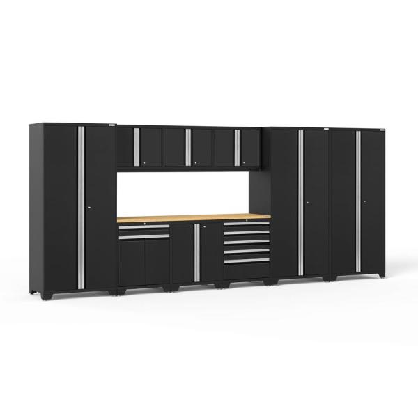 Newage Products Pro Series 192 In W X 84 75 In H X 24 In D 18 Gauge Welded Steel Garage Cabinet Set In Black 10 Piece 64224 The Home Depot