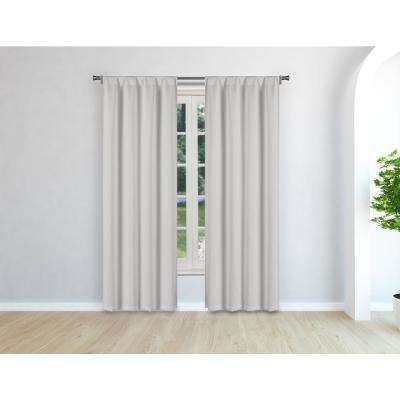 Audrey Silver Room Darkening Pole Top Panel Pair - 38 in. W x 96 in. L in (2-Piece)