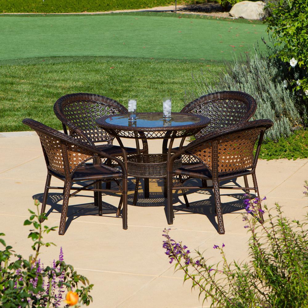 Brown 5-Piece Wicker Outdoor Dining Set